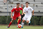 30 August 2015: Saint Mary's Michael Dingle (6) and Elon's Taylor Adler (16). The Elon University Phoenix played the Saint Mary's College Gaels at Koskinen Stadium in Durham, NC in a 2015 NCAA Division I Men's Soccer match. Elon won the game 1-0.