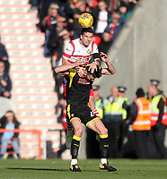 Doncaster Rovers' Mathieu Baudry outjumps Rotherham United's Kieffer Moore<br /> <br /> Photographer Mick Walker/CameraSport<br /> <br /> The EFL Sky Bet League One - Doncaster Rovers v Rotherham United - Saturday 11th November 2017 - Keepmoat Stadium - Doncaster<br /> <br /> World Copyright &copy; 2017 CameraSport. All rights reserved. 43 Linden Ave. Countesthorpe. Leicester. England. LE8 5PG - Tel: +44 (0) 116 277 4147 - admin@camerasport.com - www.camerasport.com