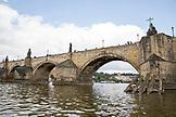 CZECH REPUBLIC, Prague, Cityscapes from the tour boat including castle, Charles Bridge