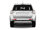 Straight rear view of a 2015 Mitsubishi Outlander GT 4WD 5 Door SUV Rear View  stock images