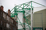 Traditional tenements and the Famous Five stand at Easter Road stadium before the Scottish Championship match between Hibernian and visitors Alloa Athletic. The home team won the game by 3-0, watched by a crowd of 7,774. It was the Edinburgh club's second season in the second tier of Scottish football following their relegation from the Premiership in 2013-14.