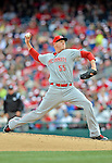 12 April 2012: Cincinnati Reds pitcher Mat Latos in action against the Washington Nationals at Nationals Park in Washington, DC. The Nationals defeated the Reds 3-2 in 10 innings to take the first game of their 4-game series. Mandatory Credit: Ed Wolfstein Photo
