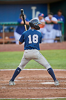 Jean Carmona (18) of the Helena Brewers bats against the Ogden Raptors at Lindquist Field on July 14, 2018 in Ogden, Utah. Ogden defeated Helena 8-6. (Stephen Smith/Four Seam Images)
