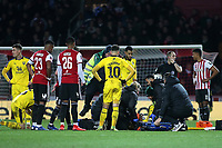 Shandon Baptiste of Oxford United lies on the stretcher waiting to be carried off the pitch after suffering an injury during Brentford vs Oxford United, Emirates FA Cup Football at Griffin Park on 5th January 2019