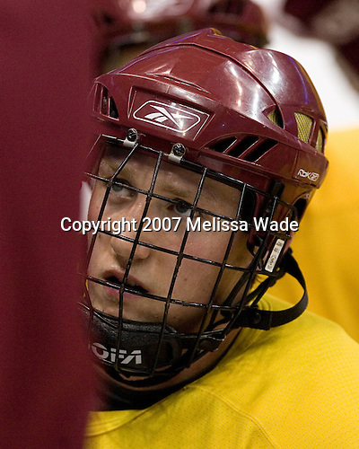 Tim Filangieri (Boston College - Islip Terrace, NY) takes part in the Eagles' Wednesday practice on April 4, 2007 at the Scottrade Center in St. Louis, Missouri, prior to their Thursday 2007 Frozen Four Semi-Final.