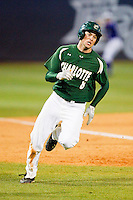 Shane Basen (8) of the Charlotte 49ers rounds third base against the High Point Panthers at Willard Stadium on February 20, 2013 in High Point, North Carolina.  The 49ers defeated the Panthers 12-3.  (Brian Westerholt/Four Seam Images)