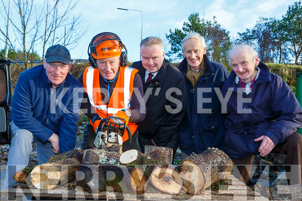 Killarney Mens Shed donated the proceeds of their recent timber sale which they used from chopping trees and branches that fell in the recent storm l-r: Mick Myers, Derry O'Mahony, Pat Dawson, Dan Hourigan Kerry Mental Health and Dan Twomey St Vincent de Paul