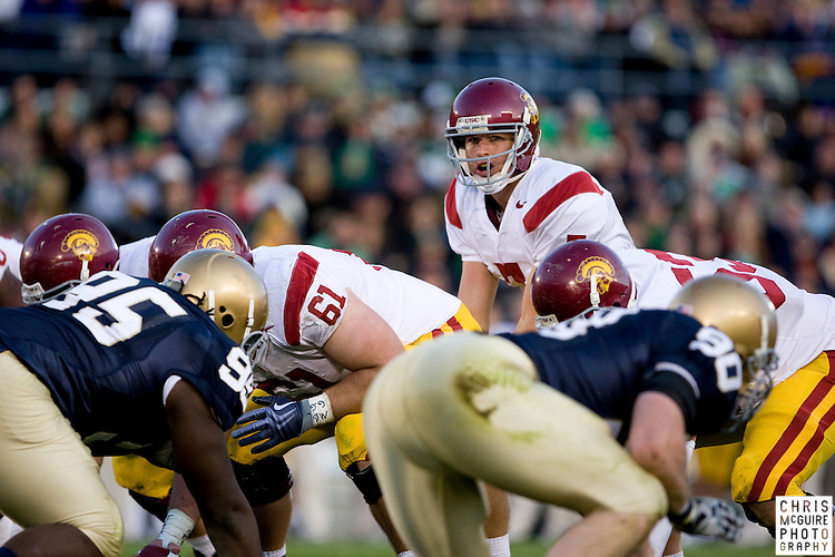10/17/09 - South Bend, IN:  USC quarterback Matt Barkley waits for the snap at Notre Dame Stadium on Saturday.  USC won the game 34-27 to extend its win streak over Notre Dame to 8 games.  Photo by Christopher McGuire.
