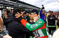 Pole Weekend for the 87th Indianapolis 500, Indianapolis Motor Speedway, Speedway, Indiana, USA  25 May,2003.Tony Kanaan gets congratulations from injured teamate Dario Franchitti..World Copyright©F.Peirce Williams 2003 .ref: Digital Image Only..F. Peirce Williams .photography.P.O.Box 455 Eaton, OH 45320.p: 317.358.7326  e: fpwp@mac.com..