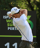 Sebastian Heisele (GER) in action on the 11th during Round 1 of the ISPS Handa World Super 6 Perth at Lake Karrinyup Country Club on the Thursday 8th February 2018.<br /> Picture:  Thos Caffrey / www.golffile.ie<br /> <br /> All photo usage must carry mandatory copyright credit (&copy; Golffile | Thos Caffrey)