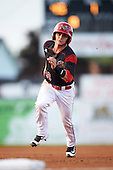 Batavia Muckdogs second baseman Sutton Whiting (49) during a game against the Staten Island Yankees on August 27, 2016 at Dwyer Stadium in Batavia, New York.  Staten Island defeated Batavia 13-10 in eleven innings. (Mike Janes/Four Seam Images)