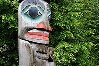 Detail on Raven Stealing the Sun totem pole, downtown Ketchikan, Alaska