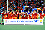 The Hague, Netherlands, June 15: Team of The Netherlands poses with their silver medals during the prize giving ceremony on June 15, 2014 during the World Cup 2014 at Kyocera Stadium in The Hague, Netherlands. (Photo by Dirk Markgraf / www.265-images.com) *** Local caption ***
