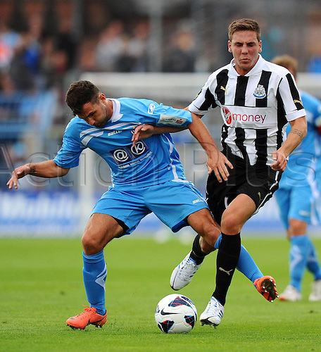 13.07.2012. Cheminzt, Saxon, Germany. Pre-season friendly game.   Chemnitz FC versus Newcastle  United FC Sascha Pepper Chemnitz against Dan Gosling Newcastle