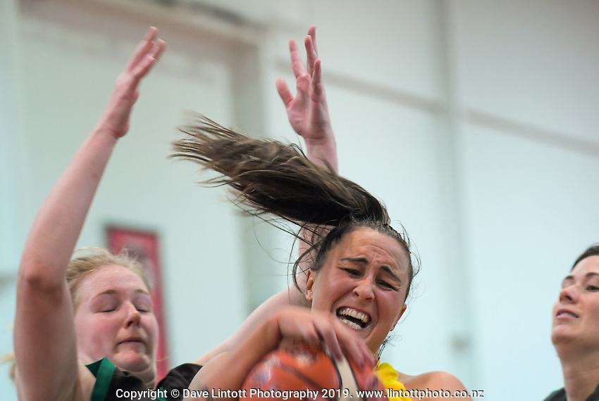Action from the 2019 Women's Basketball League division two match between Rotorua Lady Geysers and South Canterbury Stealers at Cowles Stadium in Christchurch, New Zealand on Sunday, 12 May 2019. Photo: Dave Lintott / lintottphoto.co.nz