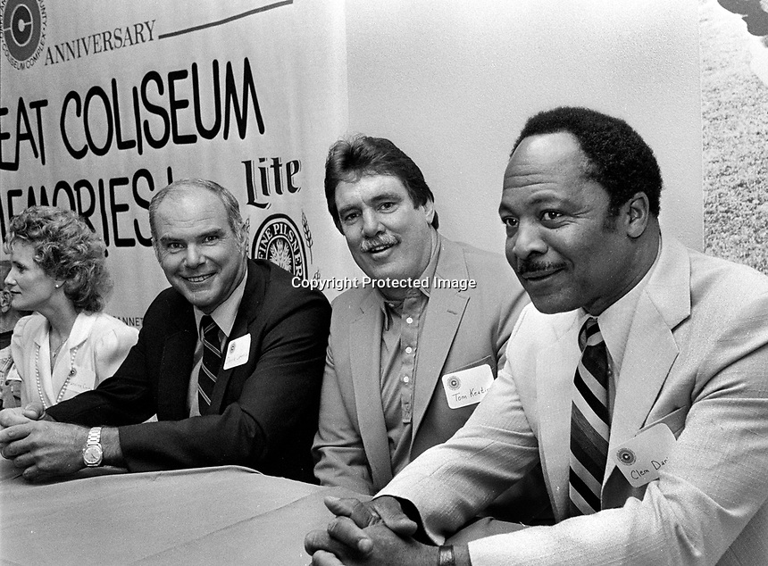 Three Oakland Raider stars, Daryle Lamonica, Tom Keating,and Clem Daniels//for 20th anniversary of the Oakland-Alameda County Coliseum. (1986 photo/Ron Riesterer)