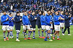 16.03.2019, VELTINS-Arena, Gelsenkirchen, GER, DFL, 1. BL, FC Schalke 04 vs RB Leipzig, DFL regulations prohibit any use of photographs as image sequences and/or quasi-video<br /> <br /> im Bild Schlussjubel / Schlußjubel / Emotion / Freude / der Mannschaft von Schalke vor Fankurve / Fans / Fanblock / <br /> <br /> Foto © nph/Mauelshagen