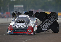 Aug 20, 2016; Brainerd, MN, USA; NHRA funny car driver Tim Wilkerson during qualifying for the Lucas Oil Nationals at Brainerd International Raceway. Mandatory Credit: Mark J. Rebilas-USA TODAY Sports