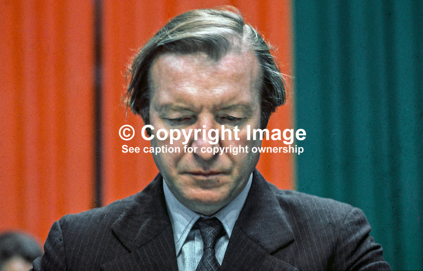 Charles Haughey, TD, Fianna Fail, Rep of Ireland, former minister for finance, on the platform at his party's annual conference in Dublin. 197405000270.<br />