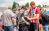 Lincoln City's Cian Bolger signs autographs for fans<br /> <br /> Photographer Chris Vaughan/CameraSport<br /> <br /> Football Pre-Season Friendly (Community Festival of Lincolnshire) - Lincoln City v Lincoln United - Saturday 6th July 2019 - The Martin & Co Arena - Gainsborough<br /> <br /> World Copyright © 2018 CameraSport. All rights reserved. 43 Linden Ave. Countesthorpe. Leicester. England. LE8 5PG - Tel: +44 (0) 116 277 4147 - admin@camerasport.com - www.camerasport.com