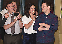 "STUDIO CITY - OCTOBER 4:   Joe Lo Truglio, Melissa Fumero and Andy Samberg at Fox's ""Brooklyn Nine-Nine"" 99th Episode Celebration at CBS Radford Studio  on October 4, 2017 in Studio City, California. (Photo by Scott Kirkland/Fox//PictureGroup)"