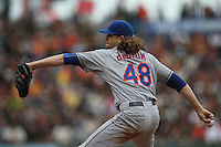 SAN FRANCISCO, CA - JULY 8:  Jacob deGrom of the New York Mets pitches against the San Francisco Giants during the game at AT&T Park on Wednesday, July 8, 2015 in San Francisco, California. (Photo by Brad Mangin)