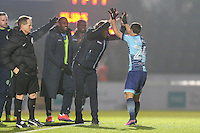 Scott Kashket of Wycombe Wanderers celebrates with Manager of Wycombe Wanderers Gareth Ainsworth (2nd right) after he scores the opening goal of the gameduring the Sky Bet League 2 match between Wycombe Wanderers and Leyton Orient at Adams Park, High Wycombe, England on 17 December 2016. Photo by David Horn / PRiME Media Images.