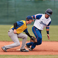 18 August 2010: Maxime Lefevre of Team France slides safely into second base during the France 7-3 win over Ukraine, at the 2010 European Championship, under 21, in Brno, Czech Republic.