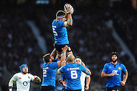 Andries Van Schalkwyk of Italy claims the ball in the air. RBS Six Nations match between England and Italy on February 26, 2017 at Twickenham Stadium in London, England. Photo by: Patrick Khachfe / Onside Images