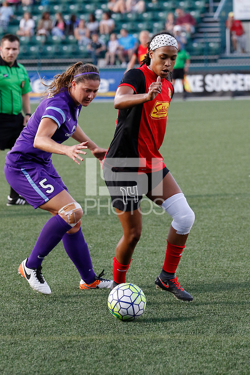 Rochester, NY - Saturday June 11, 2016: Western New York Flash forward Jessica McDonald (14), Orlando Pride forward Laura Alleway (5) during a regular season National Women's Soccer League (NWSL) match between the Western New York Flash and the Orlando Pride at Rochester Rhinos Stadium.
