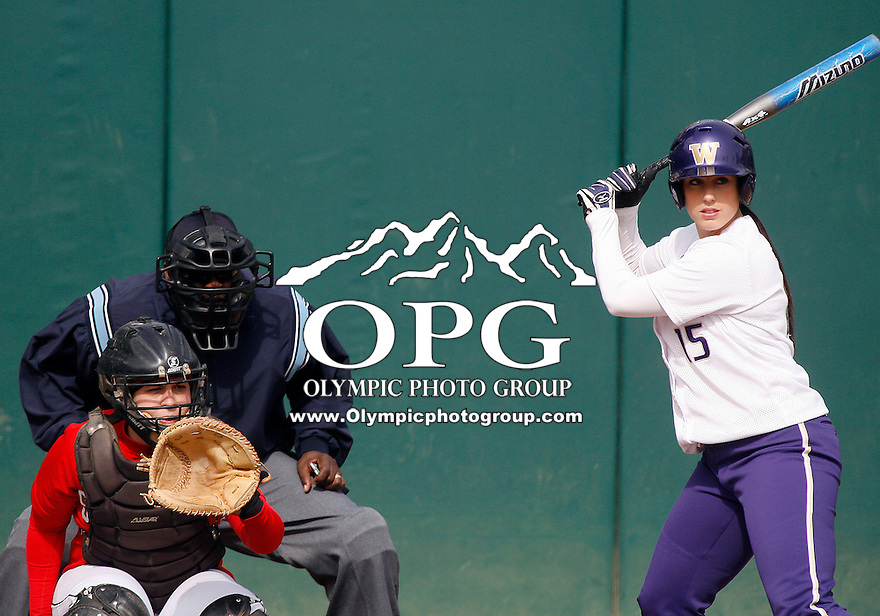 14 March 2010:  Washington Huskies senior All-American Danielle Lawrie gets set in the batters box against Seattle University. Washington defeated Seattle University 8-3 at Husky Softball Stadium in Seattle, WA.