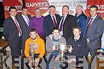 Pictured at the Launch of the Kerry GAA Football and Hurling Championships and announcement of Garvey's Supervalu as Sponsor at the County board offices on Mondat night,.Front from left: Michael Boyle, Ballyduff, Kerry Hurling Captain, Brian Looney, Dr Crokes Captain, County Champions, Colm Cooper, Kerry Captain..Back Row From Left: Jim Garvey, Garvey's, Patrick O'Sullivan, Vice Chairman Kerry County Board, John Joe O'Carroll, Treasurer Kerry County Board, Tomas Garvey, Garvey's, Jerome Conway Chairman Kerry County Board, Michael McCarthy, Kerry County Board and Kevin McCarthy, Garvey's.