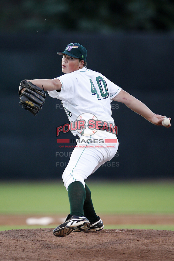 June 23, 2009:  Pitcher Christopher Shafer of the Jamestown Jammers delivers a pitch during a game at Russell Diethrick Park in Jamestown, NY.  The Jammers are the NY-Penn League Short-Season Class-A affiliate of the Florida Marlins.  Photo by:  Mike Janes/Four Seam Images