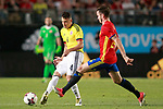Spain's Saul Niguez (r) and Colombia's Santiago Arias during international friendly match. June 7,2017.(ALTERPHOTOS/Acero)