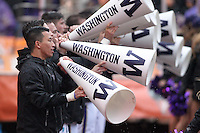 12 November 2016:   Washington Cheerleader Nick Prak entertained fans while The ESPN Game Day crew was on hand for the the game between Washington and USC at the University of Washington in Seattle, WA.