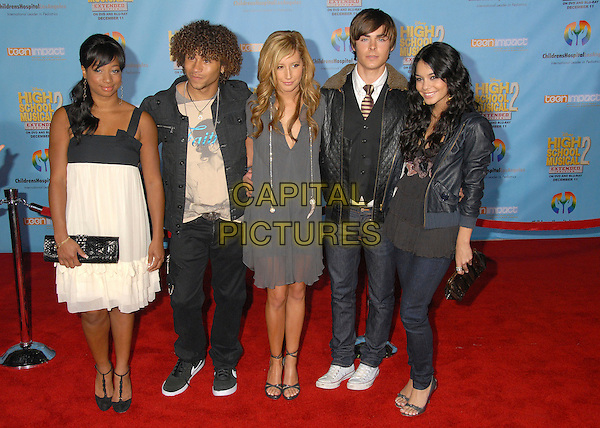 "MONIQUE COLEMAN, CORBIN BLEU, ASHLEY TISDALE, ZAC EFRON & VANESSA ANNE HUDGENS .""High School Musical 2"" Los Angeles DVD Premiere at the El Capitan Theatre, Hollywood, California, USA..November 19th, 2007.full length grey gray black leather jacket white silver clutch bag purse necklace jeans denim .CAP/ADM/BP.©Byron Purvis/AdMedia/Capital Pictures."