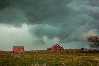 Green Severe Thunderstorm Clouds Above a Red Barn in Oklahoma on  April 26, 2013