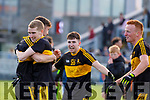 Dr Crokes players David Shaw, Gavin O'Shea, Jordan Kiely and Johnny Buckley celebrate after winning the Kerry County Senior Club Football Championship Final match between Dr Crokes and Dingle at Austin Stack Park in Tralee, Kerry on Sunday.
