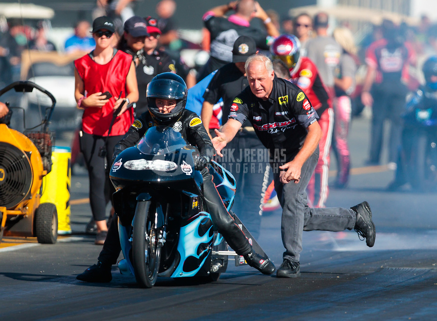 Jul 27, 2019; Sonoma, CA, USA; Crew members for NHRA pro stock motorcycle rider Jianna Salinas during qualifying for the Sonoma Nationals at Sonoma Raceway. Mandatory Credit: Mark J. Rebilas-USA TODAY Sports
