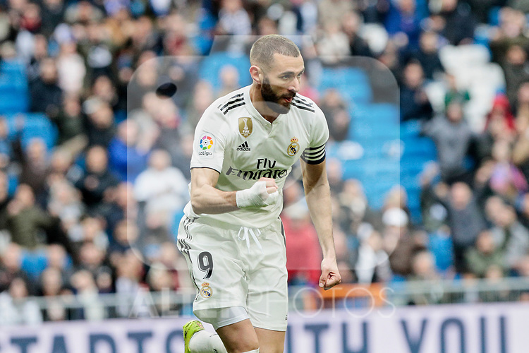 Real Madrid's Karim Benzema celebrates goal during La Liga match between Real Madrid and SD Eibar at Santiago Bernabeu Stadium in Madrid, Spain.April 06, 2019. (ALTERPHOTOS/A. Perez Meca)
