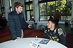 Cam Serigne (85) of the Wake Forest Demon Deacons answers questions during Media Day for the 2017 Belk Bowl at the Charlotte Convention Center on December 28, 2017 in Charlotte, North Carolina.  (Brian Westerholt/Sports On Film)