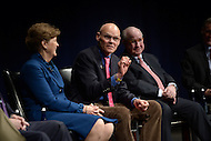 Washington, DC - February 11, 2015: Political strategist James Carville (c) participates in a panel discussion on the history and importance of the New Hampshire primary. (L-R) Sen. Jeanne Shaheen, Tom Rath.  (Photo by Don Baxter/Media Images International)