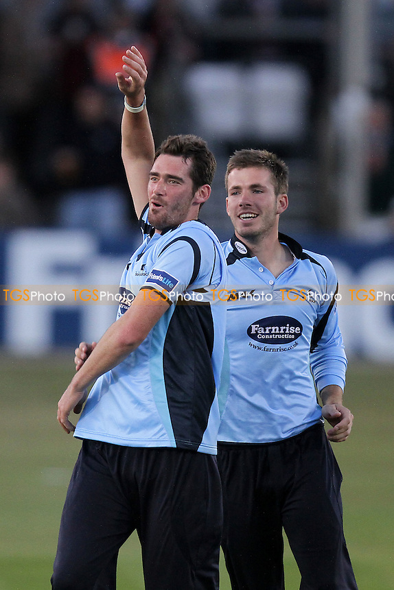 Christopher Liddle celebrates the wicket of Essex batsman Graham Napier - Essex Eagles vs Sussex Sharks - Friends Life T20 Cricket at the Ford County Ground, Chelmsford - 08/06/11 - MANDATORY CREDIT: Gavin Ellis/TGSPHOTO - Self billing applies where appropriate - Tel: 0845 094 6026