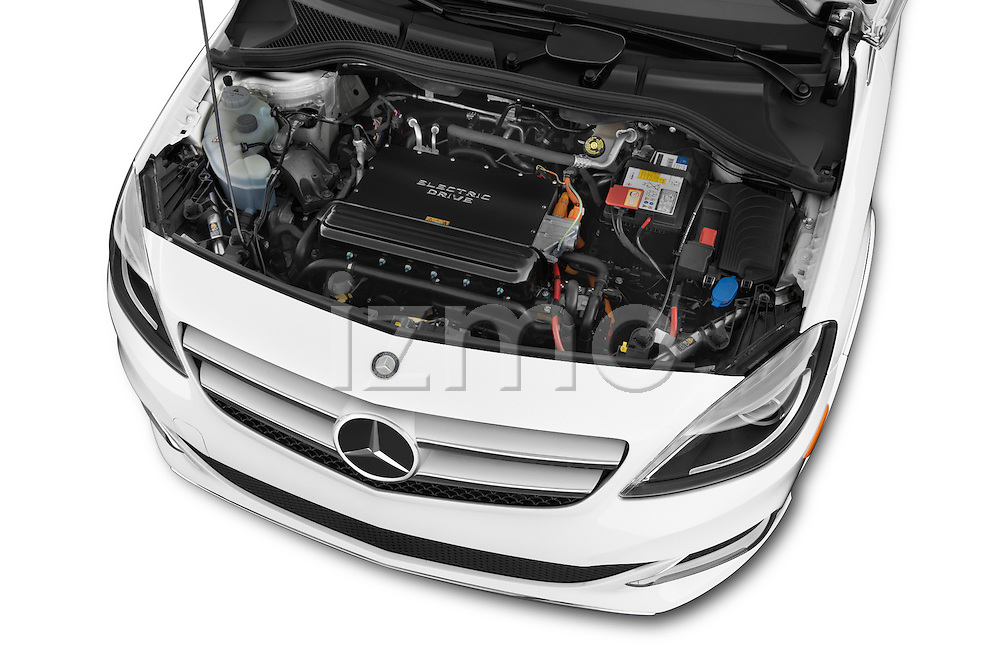 Car Stock 2014 Mercedes Benz B-Class Electric Drive 5 Door MPV Engine high angle detail view