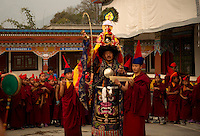 Head Lama priest conducting prayers for Losar, Sikkim, India