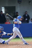 Storm Wilson (8) of the Kentucky Wildcats bats during a game against the UC Santa Barbara Gauchos at Caesar Uyesaka Stadium on March 20, 2015 in Santa Barbara, California. UC Santa Barbara defeated Kentucky, 10-3. (Larry Goren/Four Seam Images)
