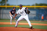 GCL Rays starting pitcher Taj Bradley (27) delivers a pitch during a game against the GCL Twins on August 9, 2018 at Charlotte Sports Park in Port Charlotte, Florida.  GCL Twins defeated GCL Rays 5-2.  (Mike Janes/Four Seam Images)