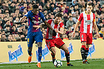 Ousmane Dembele of FC Barcelona (L) fights for the ball with Carles Planas Antolinez of Girona FC (C) during the La Liga 2017-18 match between FC Barcelona and Girona FC at Camp Nou on 24 February 2018 in Barcelona, Spain. Photo by Vicens Gimenez / Power Sport Images