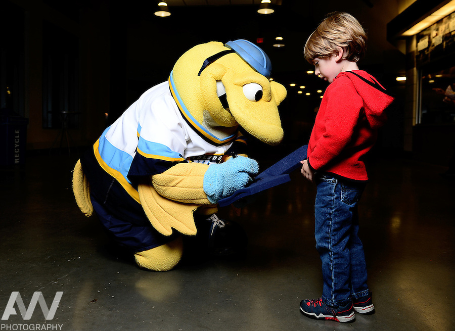 Oct 19, 2012; Toledo, OH, USA; Toledo Walleye mascot Spike against the Cincinnati Cyclones at Huntington Center: Mandatory Credit: Andrew Weber