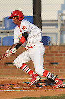 Johnson City Cardinals Cesar Valera at Howard Johnson Field in Johnson City, Tennessee July 6, 2010.   Johnson City won the game 6-5.  Photo By Tony Farlow/Four Seam Images